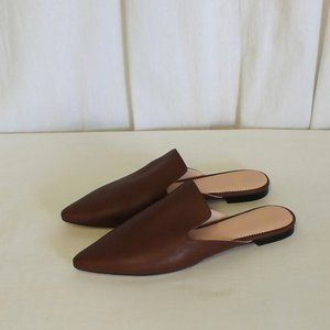 J Crew Pointed-toe slides in leather New AB095